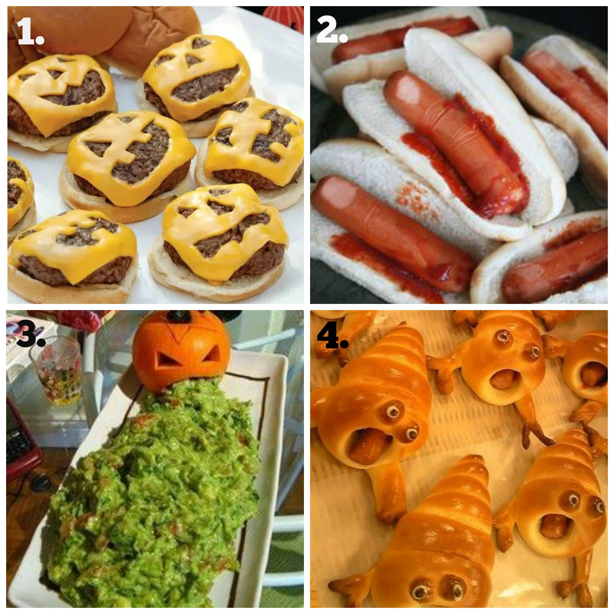 Pumpkin Puke, Bloody Hot dogs fingers, Halloween Burgers