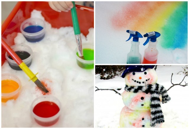How to make snow paint with food coloring
