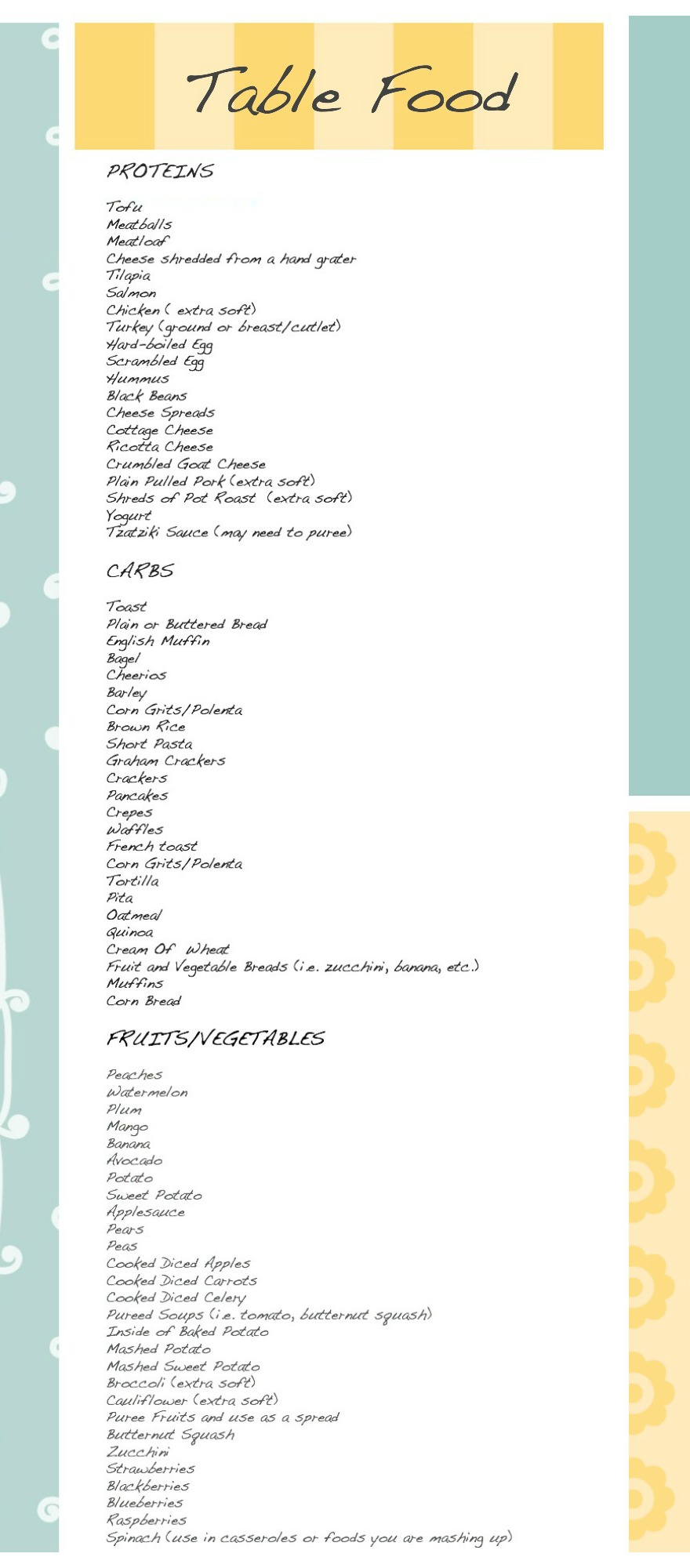 List Of Solid Foods For  Month Old